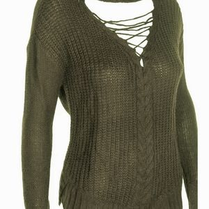 American Rag Cie lace-up neck sweater